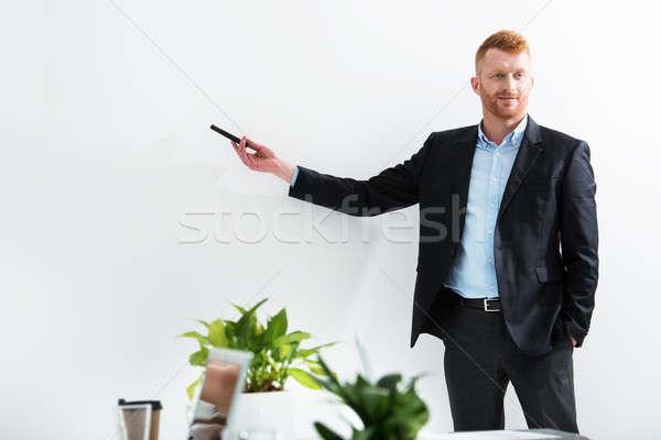 Stock fotó: üzletember · iroda · valami · képzés · megbeszélés · tárgyalóterem