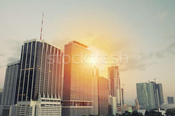 Headquarter of business company during sunrise Stock photo © alphaspirit