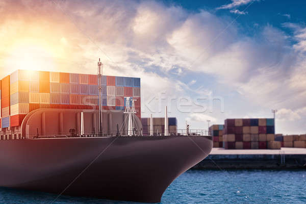 Cargo ship at the port ready to travel with packages. 3d rendering Stock photo © alphaspirit