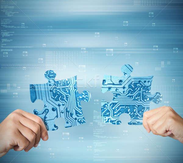 интеграция концепция два партнера стороны синий Сток-фото © alphaspirit