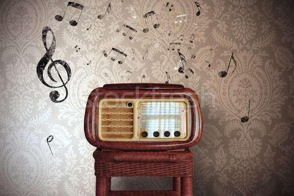 Vintage music notes with old radio Stock photo © alphaspirit