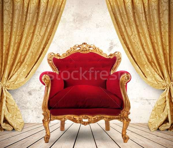королевский кресло комнату шторы моде Сток-фото © alphaspirit