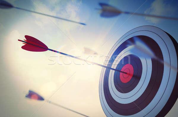 Foto d'archivio: 3D · raggiungere · obiettivo · molti · arrow
