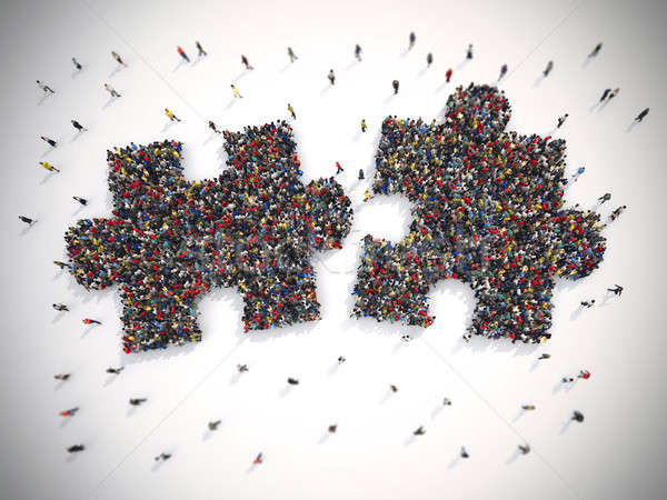3D Rendering puzzle concept of unity and teamwork Stock photo © alphaspirit