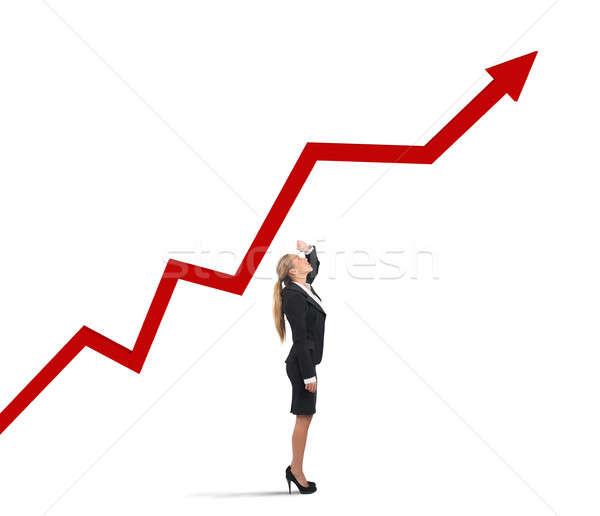Businesswoman and success uphill Stock photo © alphaspirit