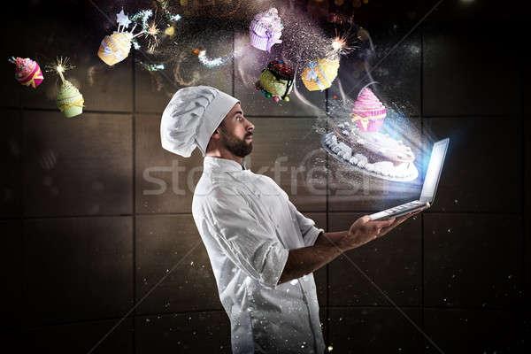 приготовления рецепт веб повар компьютер Сток-фото © alphaspirit