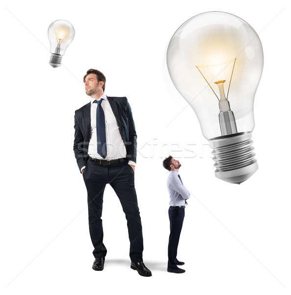 Foto stock: Idéias · pequeno · empresários · grande · empresário
