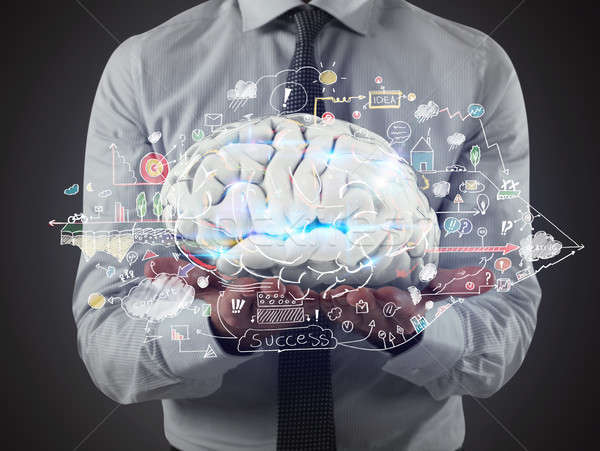 Stock photo: Man holds a brain with business drawing sketches on his hands. 3D Rendering