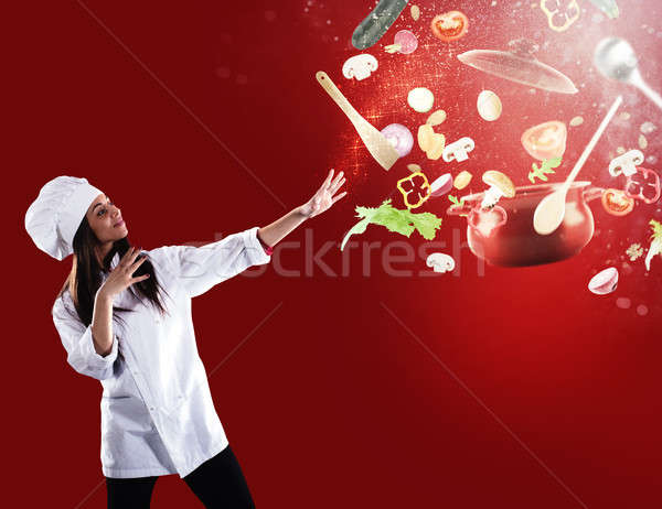Magic chef ready to cook a new Christmas dish Stock photo © alphaspirit