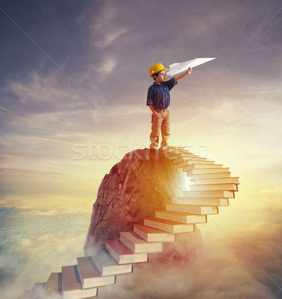 Aspire to prestigious roles by climbing a ladder of books Stock photo © alphaspirit