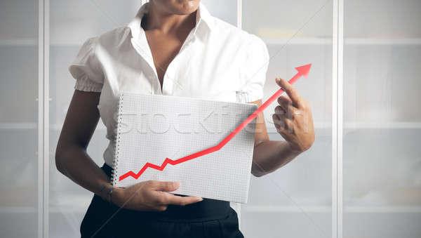 Businesswoman helps statistics Stock photo © alphaspirit