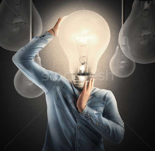 Engenhoso cabeça homem negócio empresário Foto stock © alphaspirit