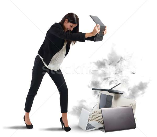 Furious businesswoman Stock photo © alphaspirit
