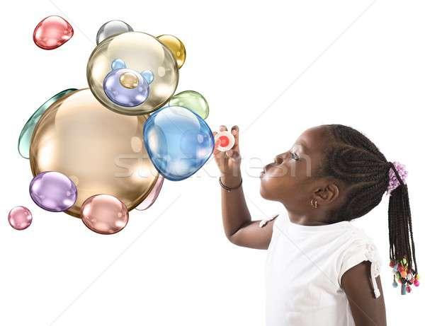 Teddy bear soap bubbles Stock photo © alphaspirit