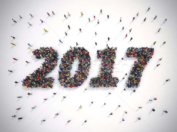 3D Rendering of happy new year 2017 Stock photo © alphaspirit