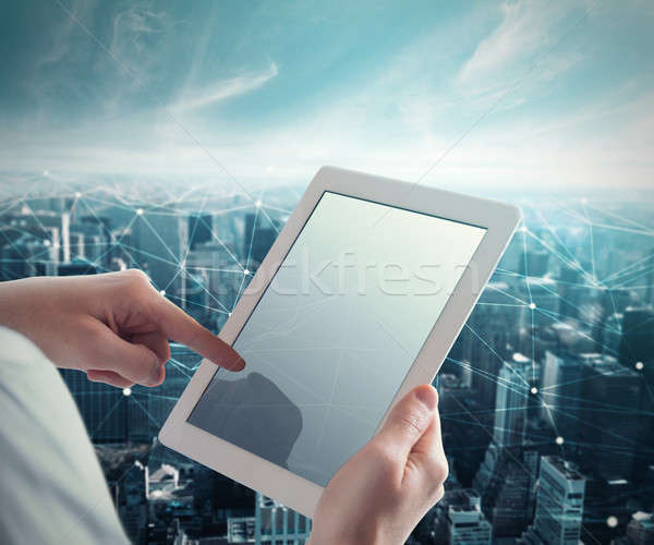System of network with tablet Stock photo © alphaspirit