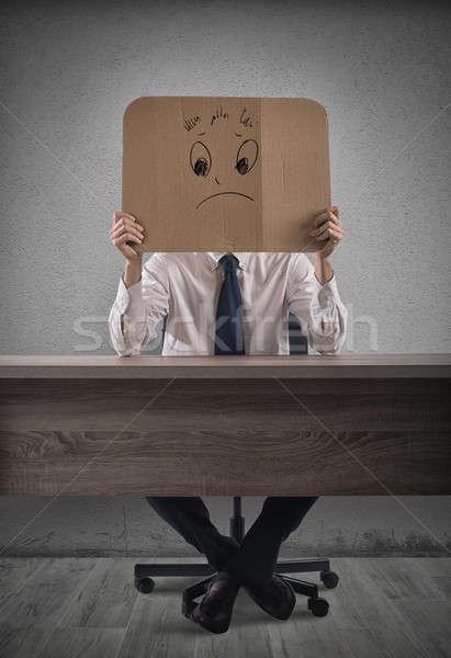 Negativos empresario oficina cartón triste cara Foto stock © alphaspirit