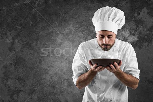 аромат человека повар блюдо работу дым Сток-фото © alphaspirit