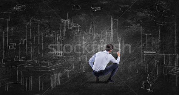Futuriste projet bâtiment affaires tableau noir construction Photo stock © alphaspirit