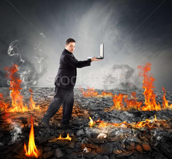 Walking on burning charcoal Stock photo © alphaspirit