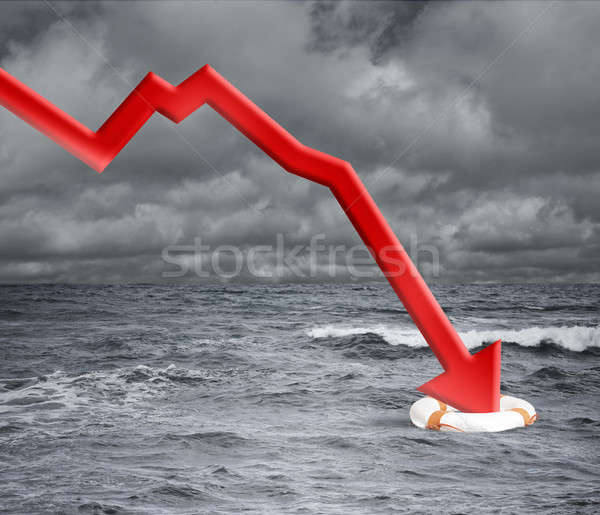 Crisis concept with falling arrow in the ocean Stock photo © alphaspirit