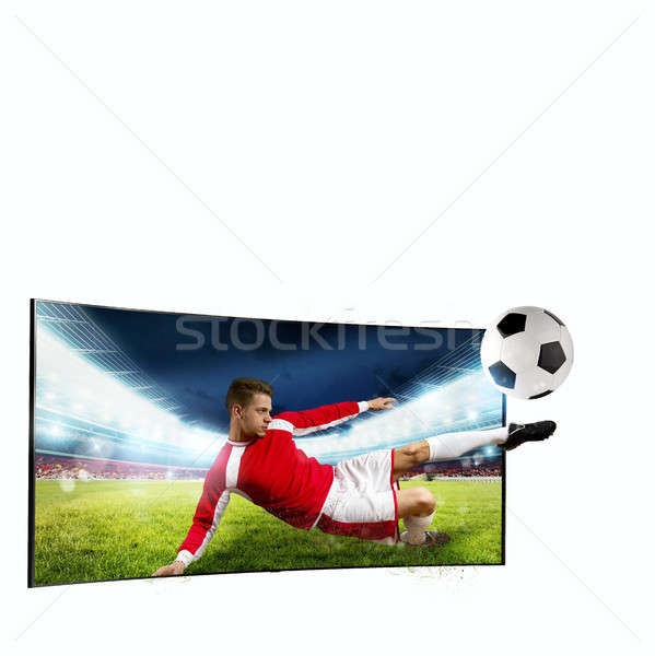Stock photo: Realism of sporting images broadcast on tv