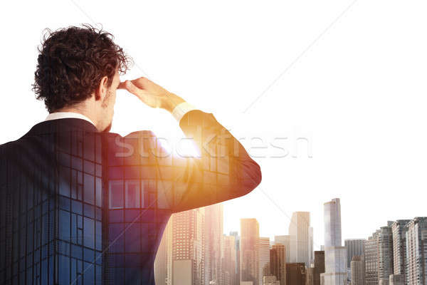 Businessman looks far for the future Stock photo © alphaspirit