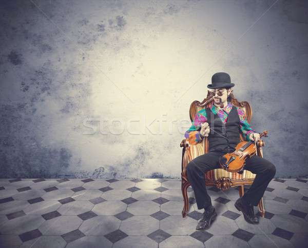 Vintage violinist Stock photo © alphaspirit