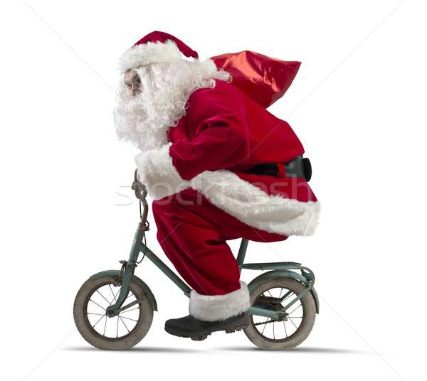 Santa claus on the bike Stock photo © alphaspirit