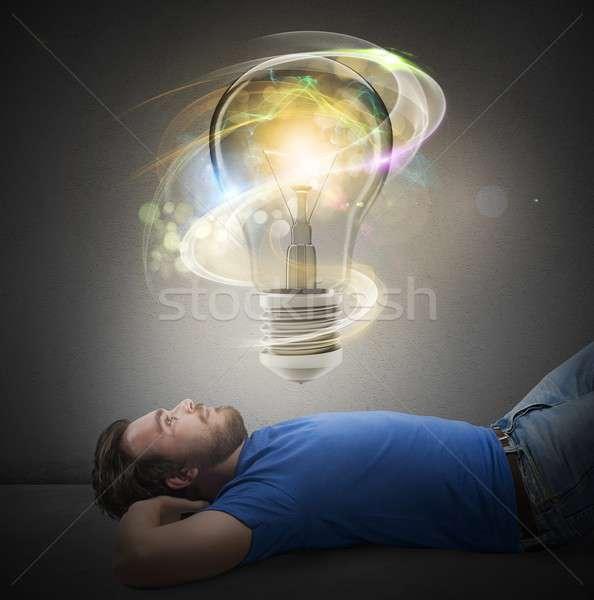 Duży jasne pomysł człowiek żarówka biznesmen Zdjęcia stock © alphaspirit