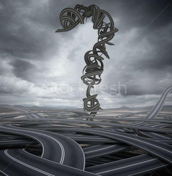 Asfalto signo de interrogación muchos carretera calle viaje Foto stock © alphaspirit