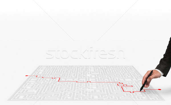 3D Rendering solution for the maze Stock photo © alphaspirit