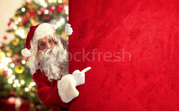 Kerstmis billboard kerstman groot Rood boom Stockfoto © alphaspirit