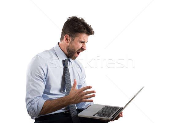 Stress déception ordinateur affaires feu internet Photo stock © alphaspirit