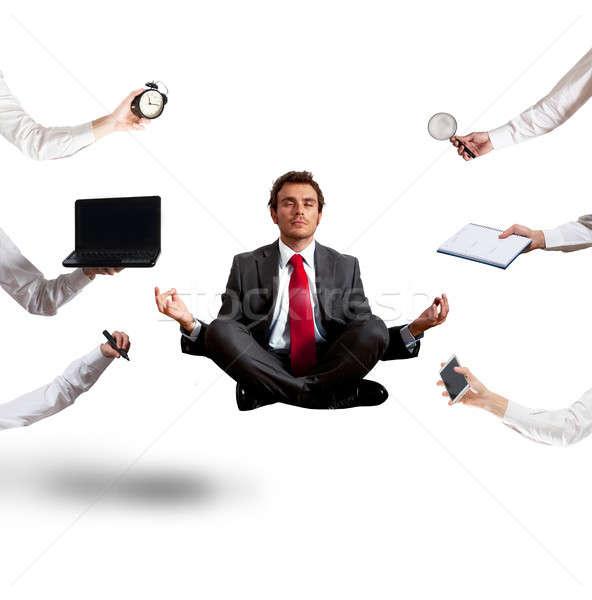 бизнесмен йога работу осуществлять бизнеса Сток-фото © alphaspirit
