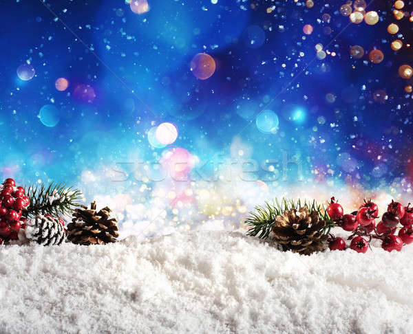 Christmas element on the snow with pine and garland Stock photo © alphaspirit