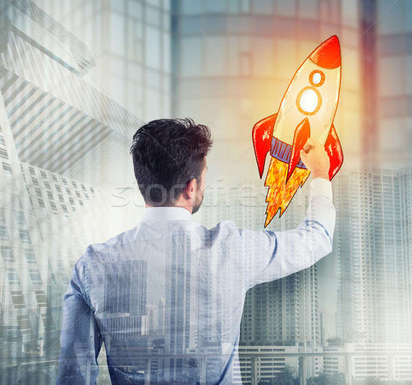 Empresário desenho foguete negócio melhoria empresa Foto stock © alphaspirit