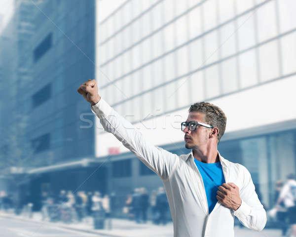 üzletember szuperhős ahogy férfi munka kék Stock fotó © alphaspirit