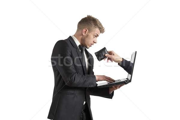 Scam business hand werk laptop toetsenbord Stockfoto © alphaspirit