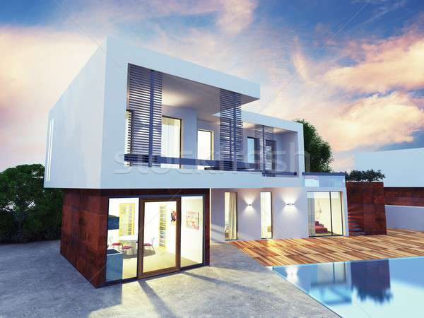 Luxe villa project bouw home tuin Stockfoto © alphaspirit