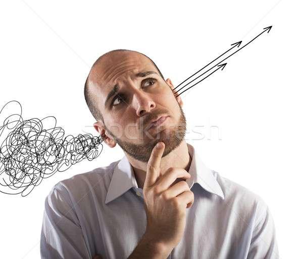 Zavarodottság fül ki nyilak férfi segítség Stock fotó © alphaspirit