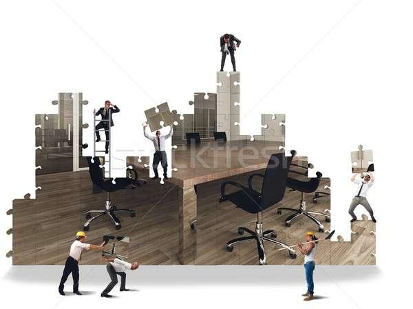 Kantoor bouwen business team werken vrouw man Stockfoto © alphaspirit