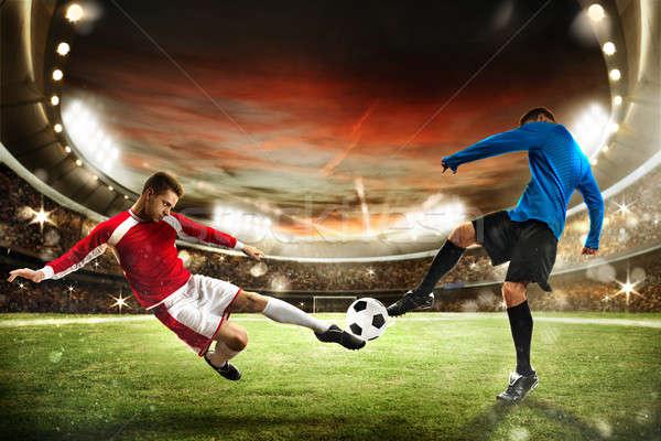 Stadion voetbal spelers spelen publiek Stockfoto © alphaspirit