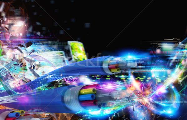 Verbinding optische vezel afbeelding binair internet Stockfoto © alphaspirit