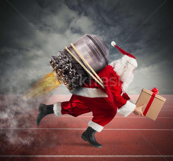 Verseny házhozszállítás karácsony ajándékok mikulás ajándék doboz Stock fotó © alphaspirit