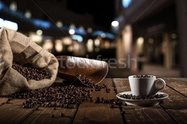 Stockfoto: Beker · koffiebonen · zak · voedsel · koffie