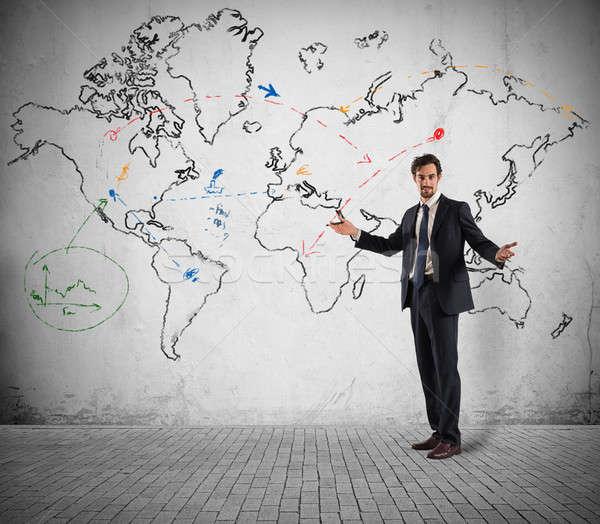 Global de negócios estratégia de marketing empresário planos negócio trabalhar Foto stock © alphaspirit