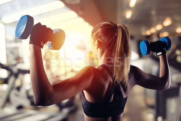 Athletic girl trains biceps at the gym Stock photo © alphaspirit