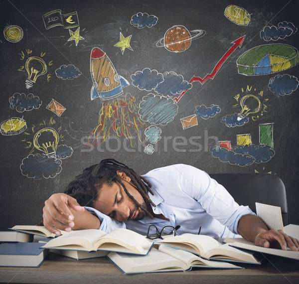 Csillagászat osztály tanár alszik asztal könyv Stock fotó © alphaspirit