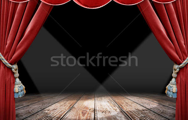 Red curtain and spotlight Stock photo © alphaspirit